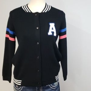 Pink Republic Black Varsity Snap Sweater Size L/14